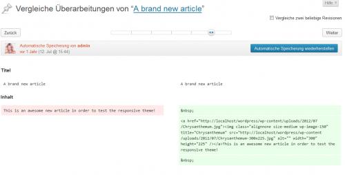 WordPress 3.6 Revisionen vergleichen