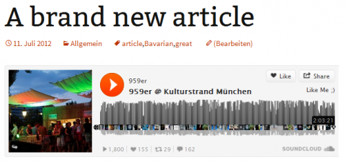 Soundcloud Embed Liveset Kulturstrand München 2013