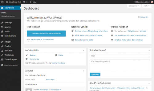 WordPress 3.8 Backend