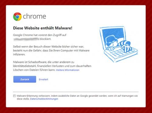 Blockierte Website in Chrome
