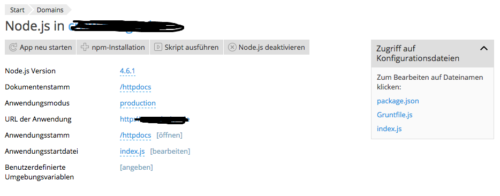 node einstellungen in plesk
