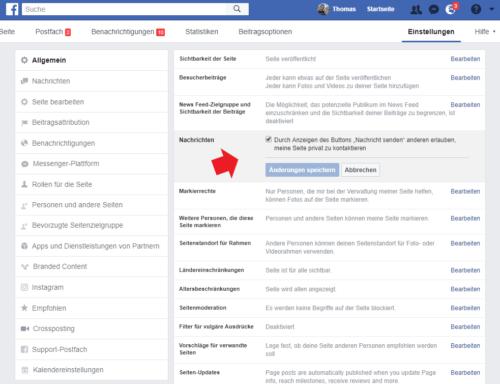 Nachrichten auf der Facebook Seite aktivieren