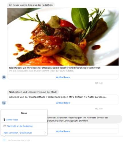 SZ Chatbot mit Menü