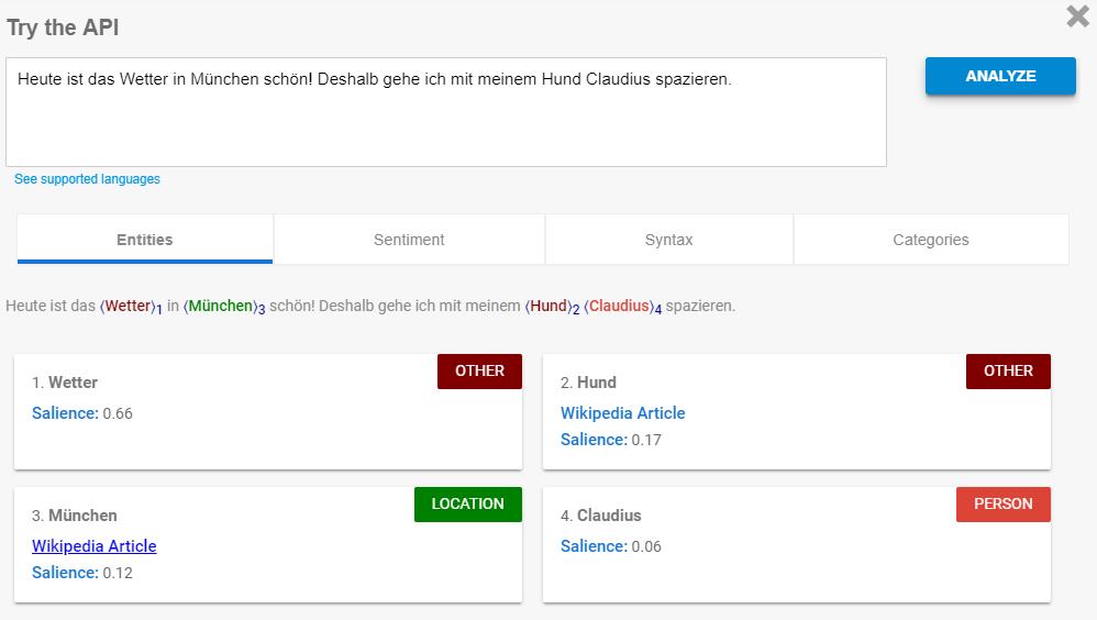 Google Entity Analysis Demo