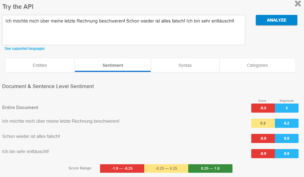 Google Sentiment Analysis Demo
