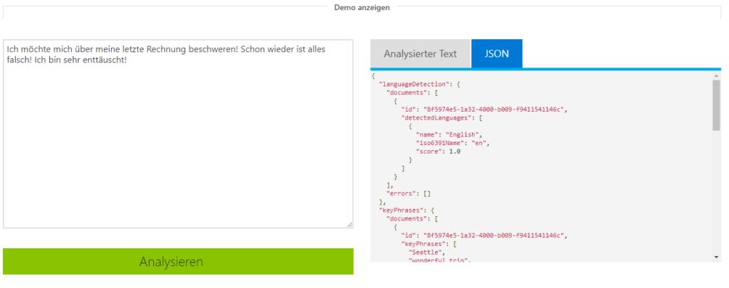Microsoft Azure NLP Demo JSON