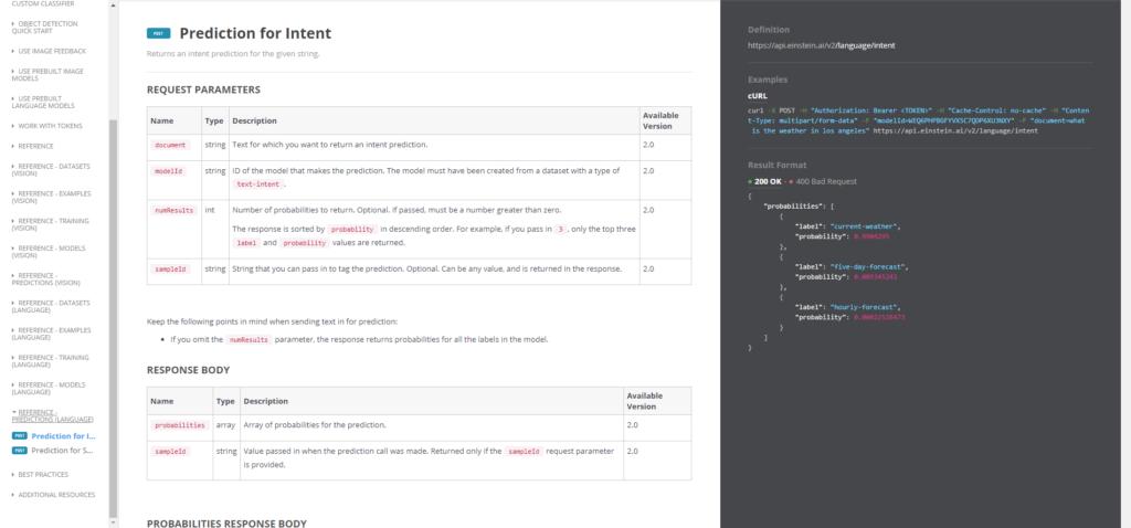 Salesforce Einstein NLP Developer Dokumentation