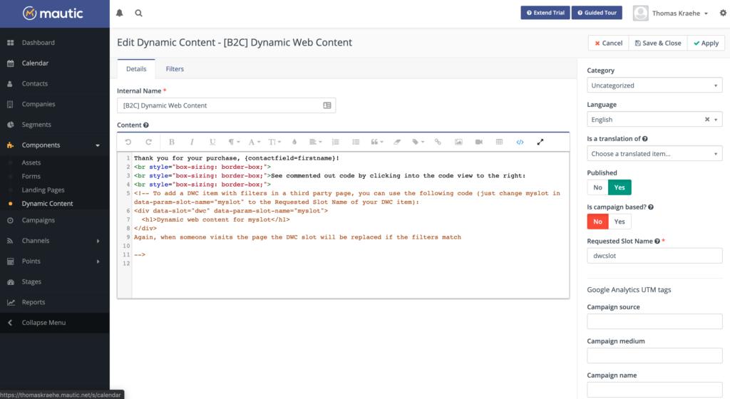 Mautic Dynamischer Web Content