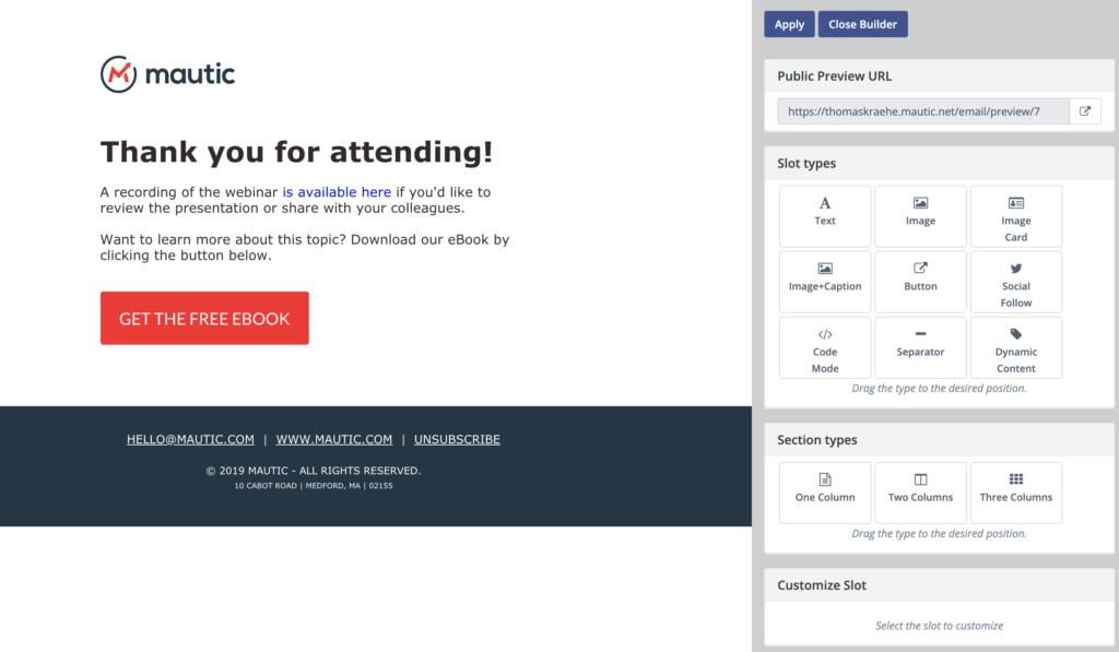 Mautic E-Mail Template Builder