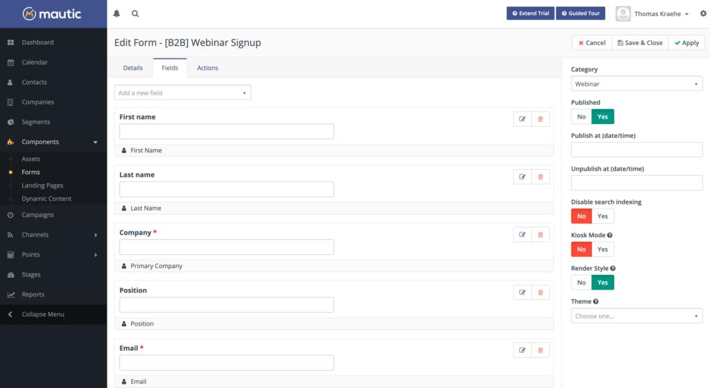 Mautic Webinar Signup Formular